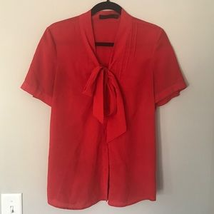 Red button up tie top from The Limited